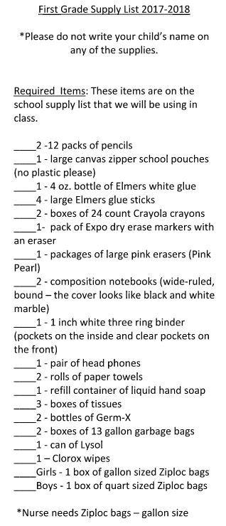 2017-2018 First Grade Supply List