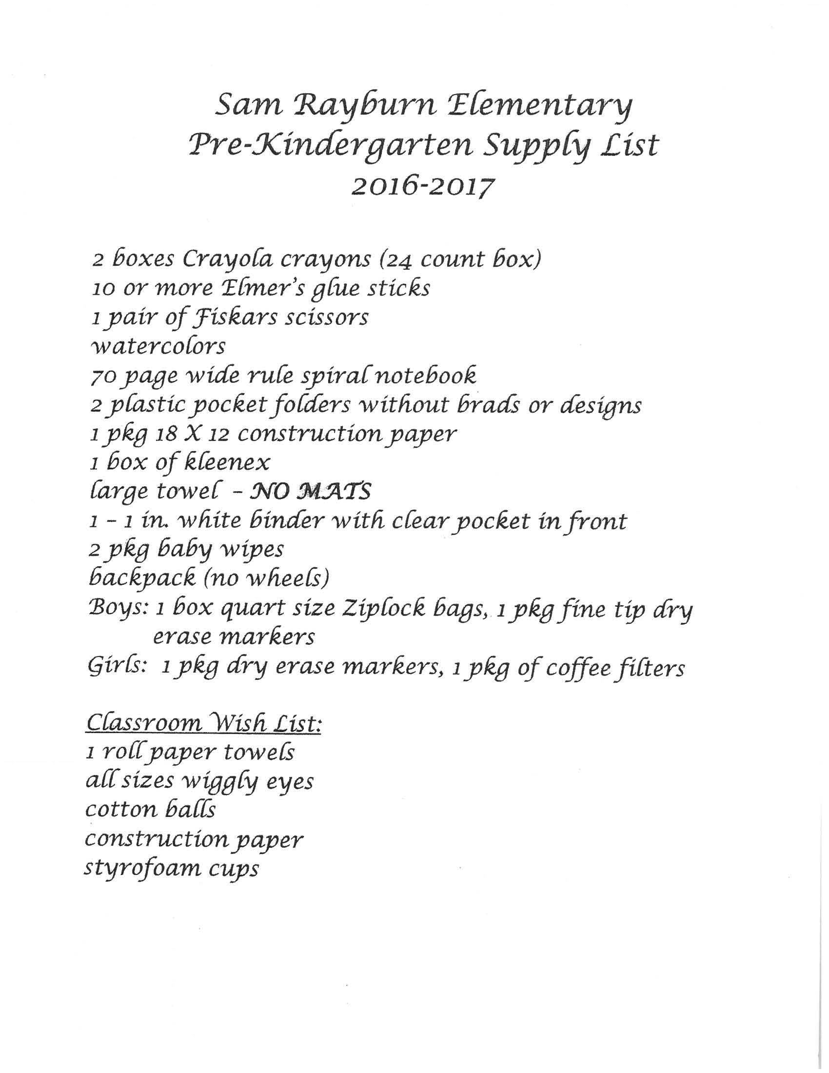 Supply List for Pre-Kindergarten 2016-2017
