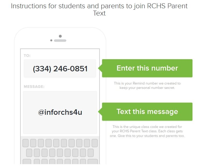 Instructions to sign up for RCHS parent texts.