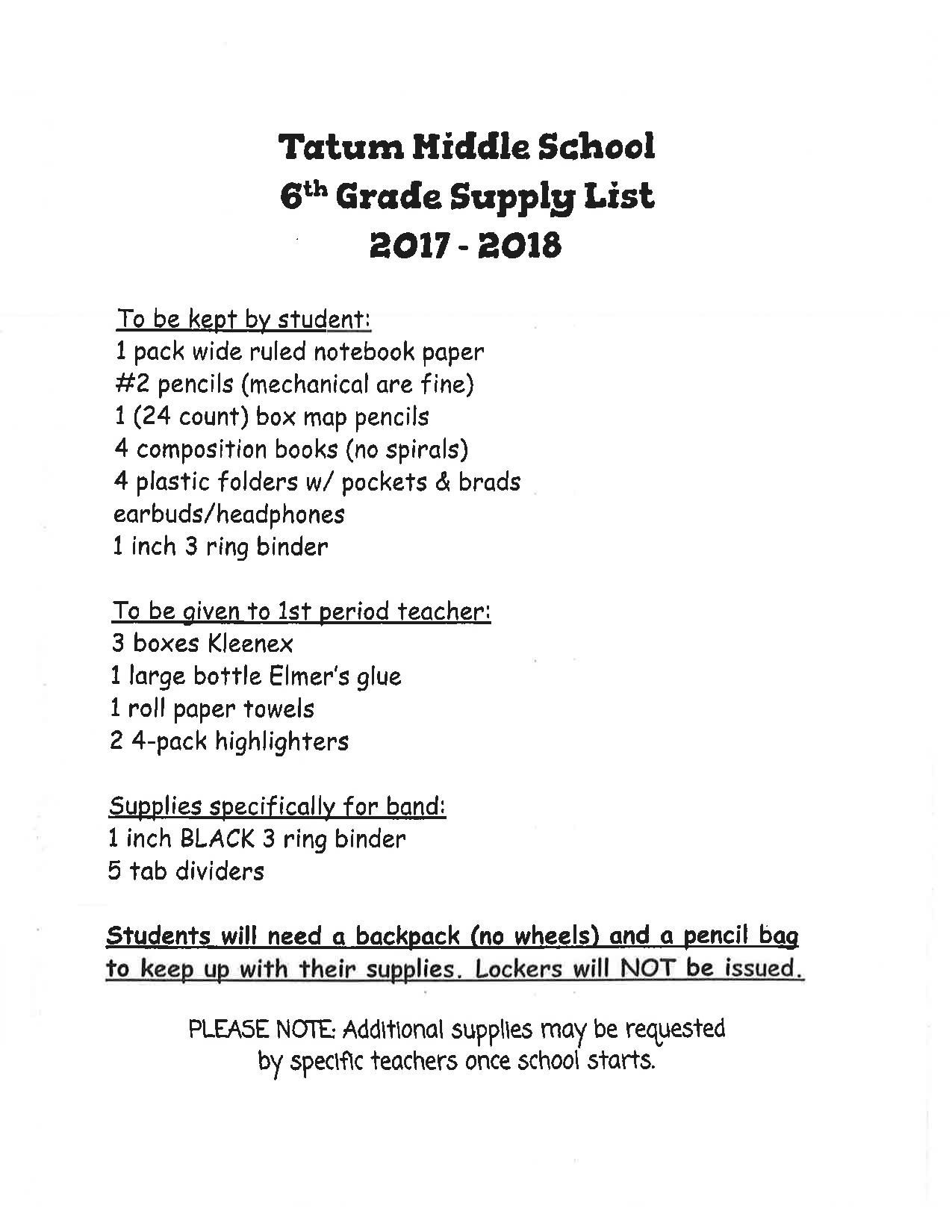 6th Grade Supply List 17-18