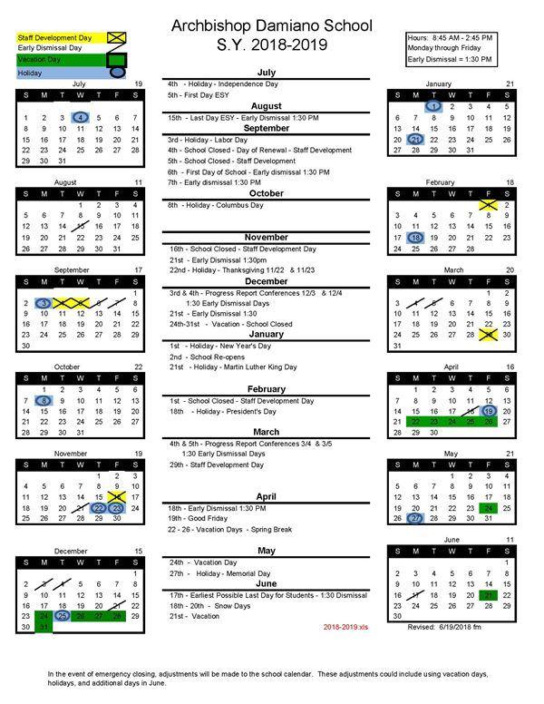 2018 - 2019 School Calendar